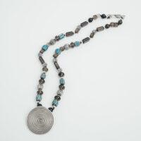 Collar de murano azul cuarzo ahumado y plata con colgante