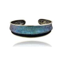 pulsera rigida plata y pigmentos azul