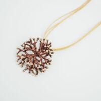 Colgante en plata chapada en oro con forma de coral
