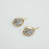 Pendiente de gancho forma oval plata dorada
