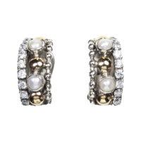Pendientes en plata, oro, perla y circonita.